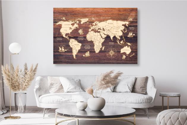 Obraz mapa světa do obyváku