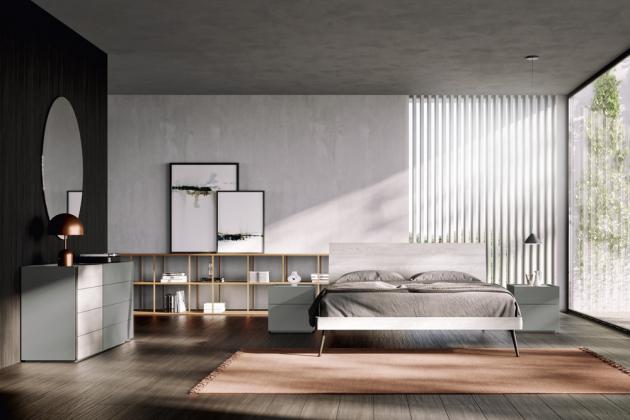 Dřevěná postel Loge z italské dílny. Postel má jednoduché kovové nožičky, které jí dodávají odlehčený design, cena postele pro matraci 160 × 200 cm včetně roštu od 35 607 Kč, www.casamoderna.cz