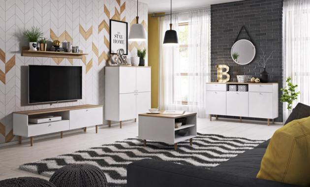 Nábytkový program Loveli ve skandinávském stylu, provedení v barvě bílé v kombinaci s pískovým bukem, cena solitérů od 2 999 Kč, www.jena-nabytek.cz