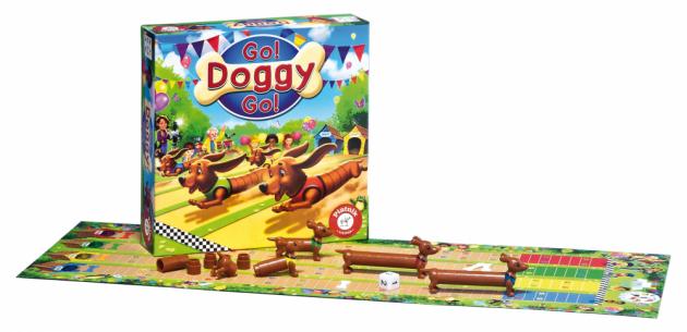 GO DOGGY GO! Vzrušující závod jezevčíků pro 2-4 hráče od 4 let. Čí jezevčík protne zadními tlapkami cílovou pásku jako první? Smůlu má naopak ten hráč, jehož pejsek se v průběhu závodu prodlouží. Připravit, pozor, teď!