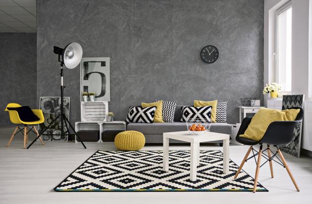 Tónovaná interiérová omítka (Style Color), vzhled přírodního kamene, odstín šedá, 10 kg, cena 1 039 Kč, www.hornbach.cz