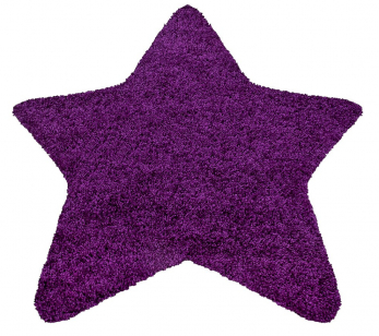 Tvar hvězdy má koberec Star 1300 Lila, 100% polypropylen Shaggy, 160 × 160 cm, cena 2 329 Kč, www.koberce-breno.cz ¨