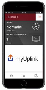 Součástí systému je také aplikace myUplink, která umožňuje sledování a ovládání tepelného čerpadla pohodlně z vašeho chytrého telefonu nebo tabletu odkudkoli.